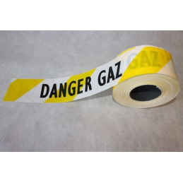 "Rubalise jaune et blanche et mention ""danger gaz"""