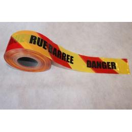 """Rubalise rouge et jaune """"route barrée"""""""