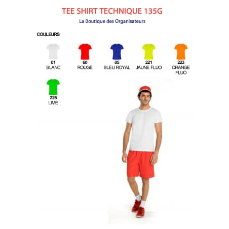 Tee shirt technique 135g sans marquage
