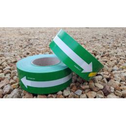 Rubalise plastique unie ROUGE avec flèche blanche 250m*50mm